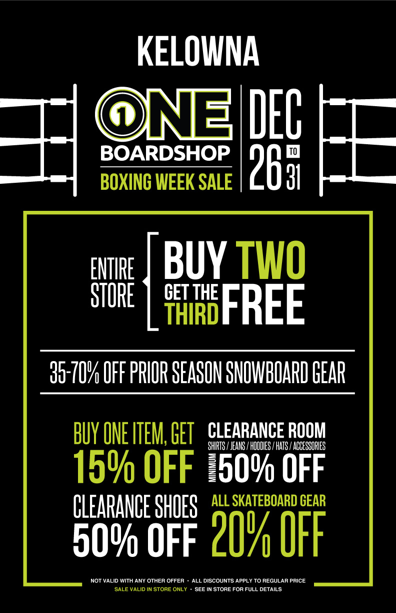 BOXING WEEK SALE - KELOWNA  //  IN STORE ONLY