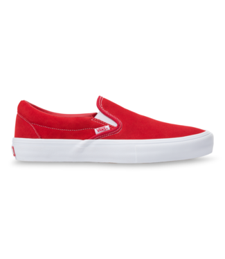VANS VANS MENS SUEDE SLIP-ON PRO SHOE RED / WHITE SP20