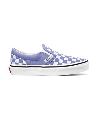 VANS VANS JUNIOR CLASSIC SLIP-ON SHOE (CHECKERBOARD) PALE IRIS / TRUE WHITE SP20