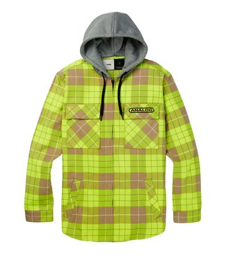 ANALOG ANALOG MENS INTEGRATE HOODED FLANNEL MID LAYER TOP HIGH VIZ BLOOM PLAID 2020