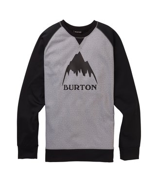 BURTON BURTON MENS CROWN BONDED CREW MID LAYER TOP GREY HEATHER / TRUE BLACK 2020