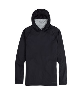 BURTON 2021 BURTON MIDWEIGHT X BASE LAYER LONG NECK HOODIE TRUE BLACK / GRAY HEATHER