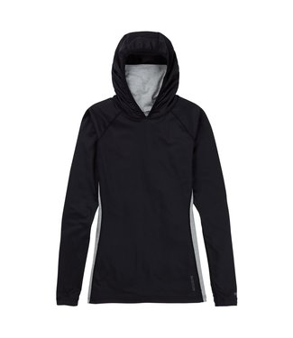BURTON 2021 BURTON MIDWEIGHT X BASE LAYER LONG NECK HOODIE WOMENS TRUE BLACK
