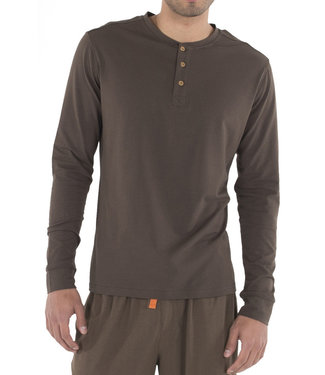 Wood Underwear Long Sleeve Henley - Walnut