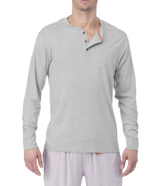 Wood Underwear Long Sleeve Henley - Heather Grey