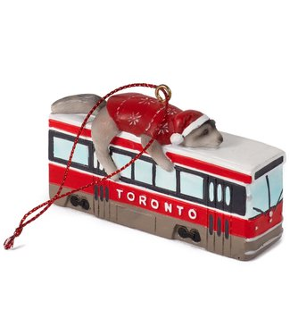 Main and Local Toronto Raccoon Streetcar Ornament