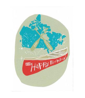 Wendy Tancock Happy Birthday card - Red Canoe - Wendy Tancock
