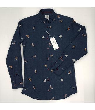 Hörst L/S Shirt Denim Blue w Moths pattern