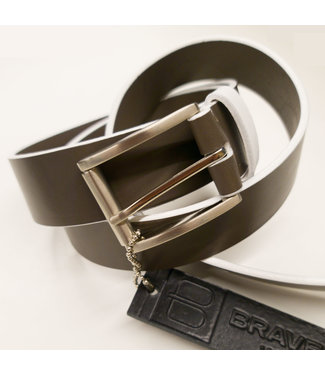 Brave Dado Grey Milled Leather Belt w/ White Edges