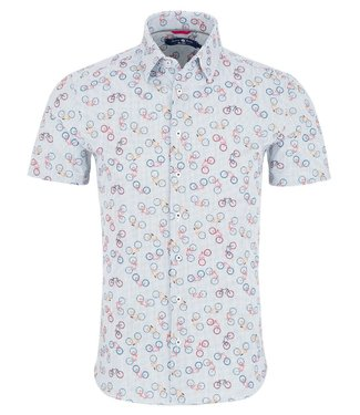 Stone Rose Short Sleeve Shirt with Bicycles