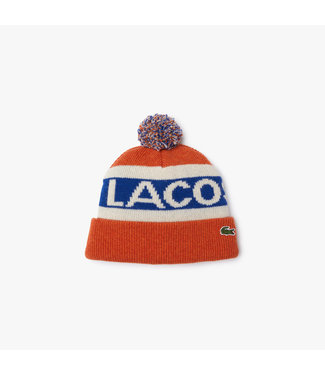 Lacoste Graphic Wool Blend Pompom Beanie