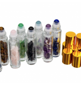 Essential Oil Bottles w/ Gemstone Rollerball and Chips Pack of 8