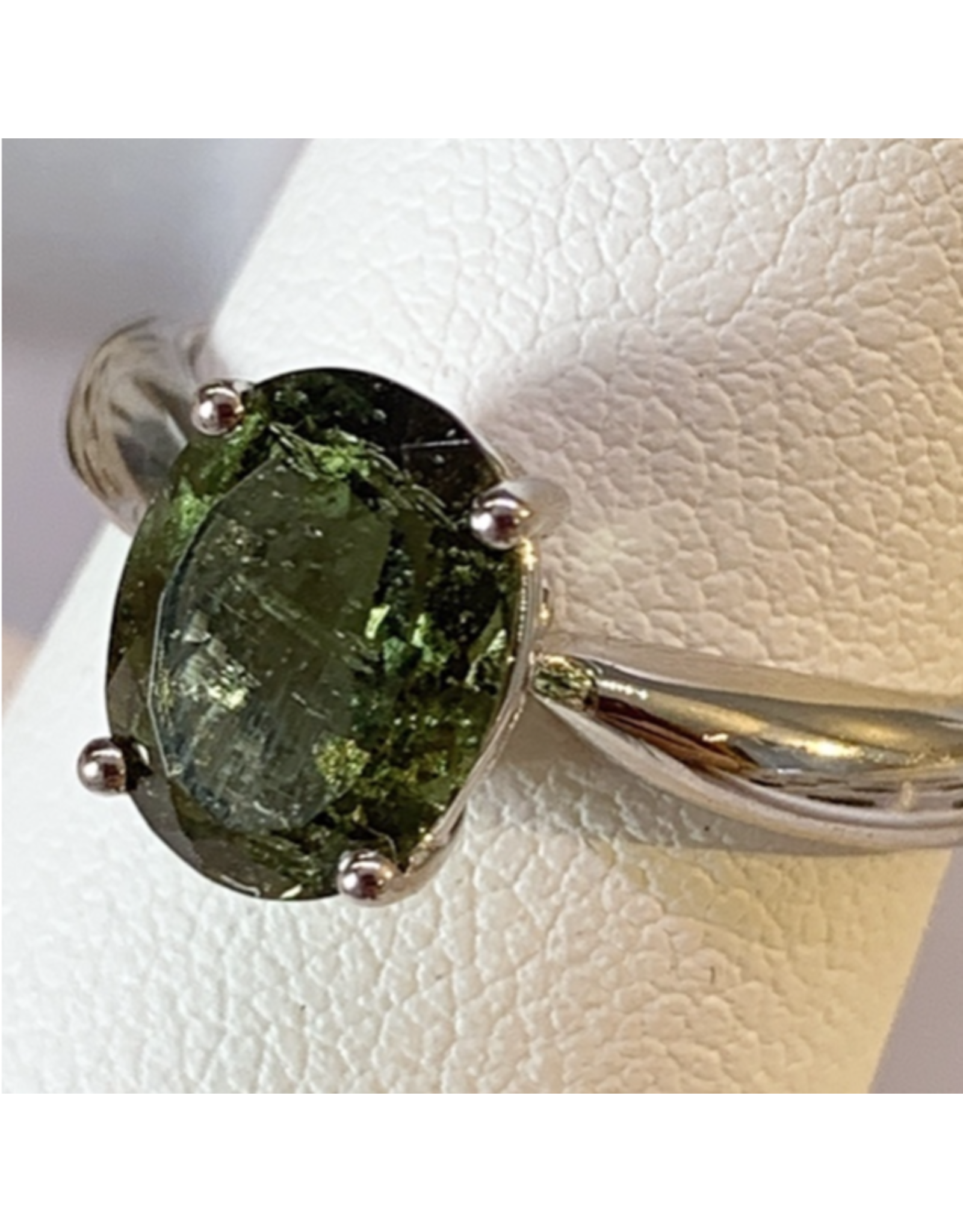 Adjustable Sterling Silver Moldavite Ring - Oval