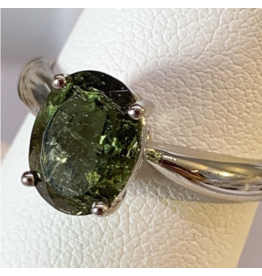 Adjustable Sterling Silver Moldavite Ring - Oval