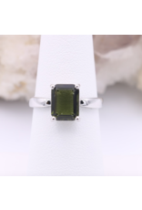 Adjustable Sterling Silver Rectangle Moldavite Ring