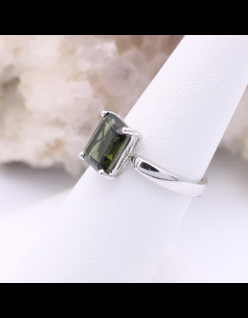 Adjustable Sterling Silver Rectangle Moldavite Ring