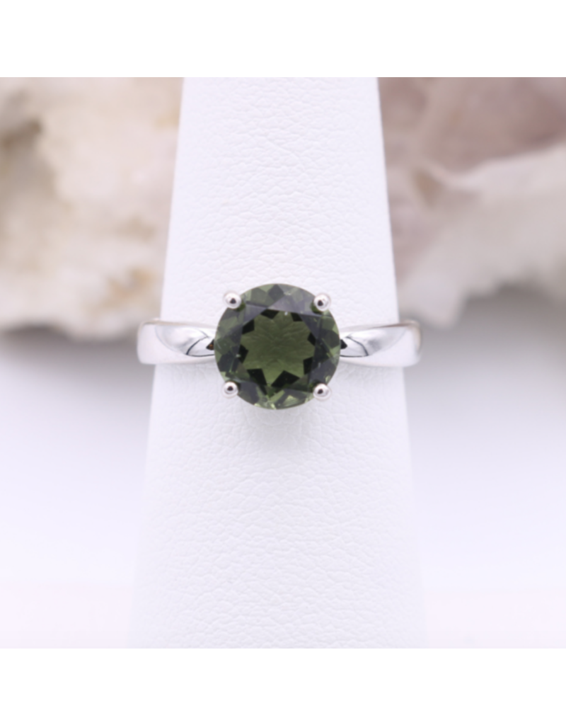 Adjustable Sterling Silver Round Moldavite Ring