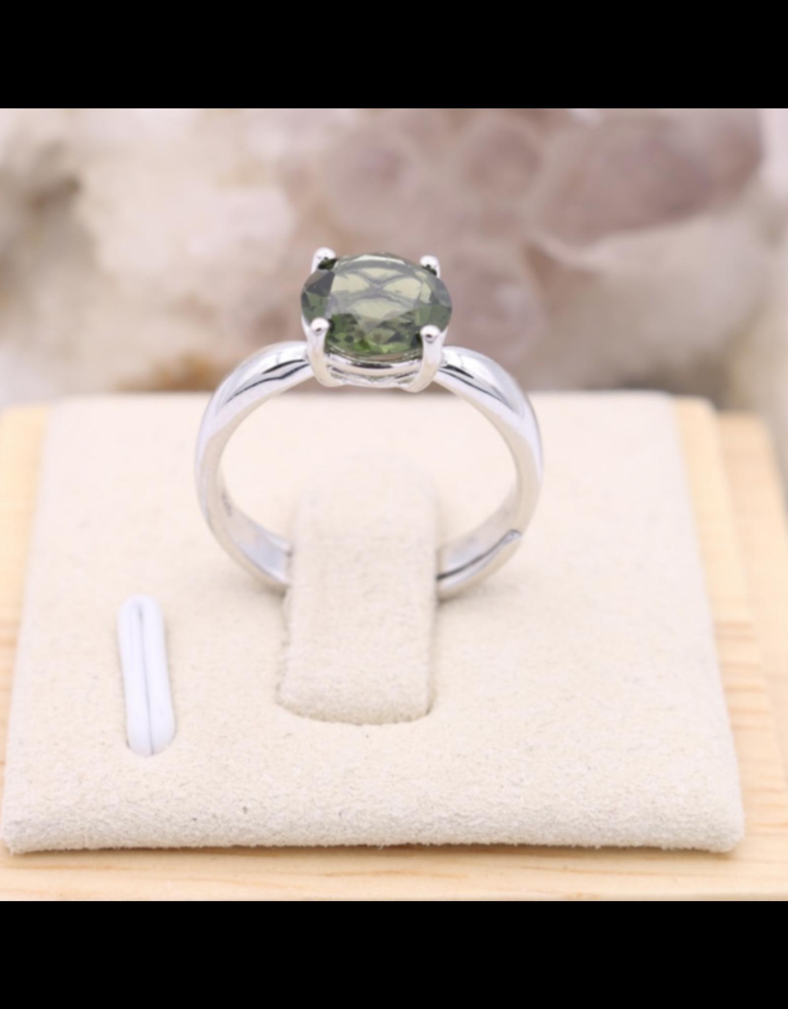 Adjustable Sterling Silver Round Moldavite Ring