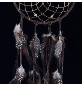 Brown DreamCatcher with Hackle and Pheasant Feathers – Citrine