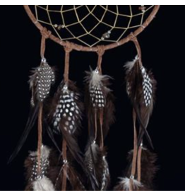 Brown DreamCatcher with Hackle and Pheasant Feathers – Tiger Eye