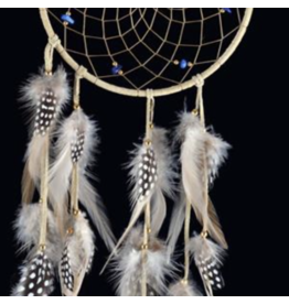 Tan DreamCatcher with Hackle and Pheasant Feathers -Lapis Lazuli