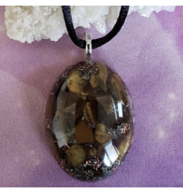 Reiki infused resin necklace with tigers eye, pyrite, quartz crystal, selenite, and copper