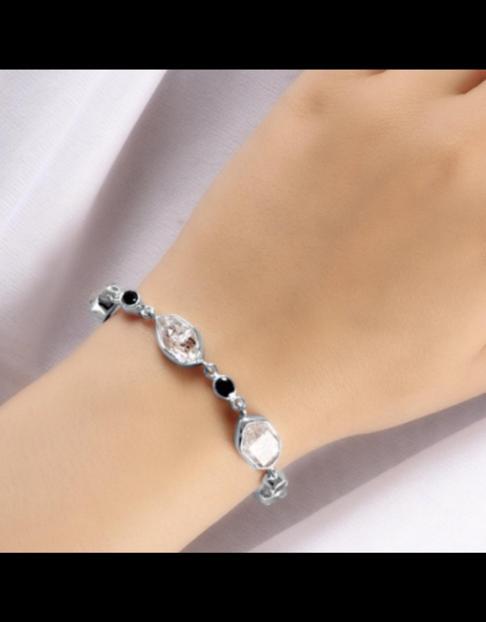 Herkimer Diamond & Black Spinel Bracelet