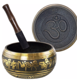 Large Om Black and Gold Singing Bowl
