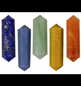 Gemstone Double Terminated Point - Chakra Set