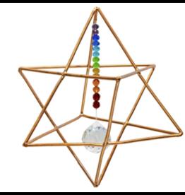 "6"" Hanging Copper Merkaba Energizer w/ Chakra Crystal"