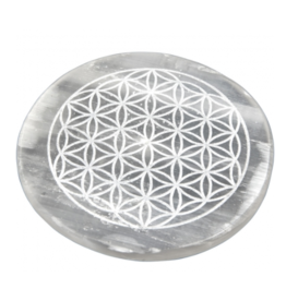 Selenite Round Incense Holder - Flower of Life