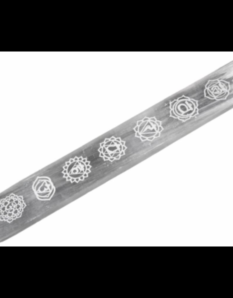 Selenite Incense Holder w/ Chakra Symbols