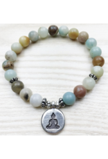 Amazonite Buddha Bracelet - 8mm