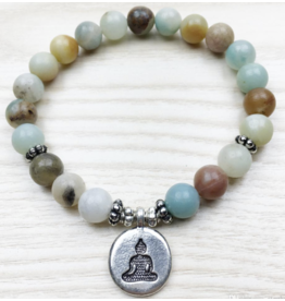 Amazonite Buddha Bracelet - 8mm