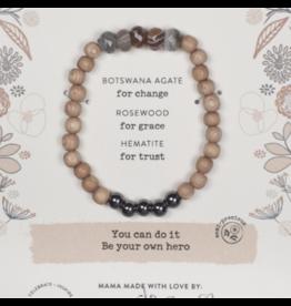 "Botswana Agate Gemstone ""Be The Change"" Be Your Own Hero Bracelet"