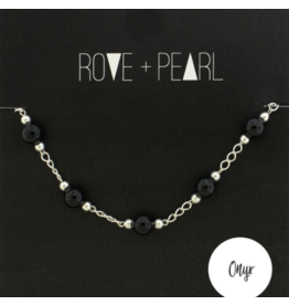 Color Theory - Genuine Onyx Bead and Silver Bracelet