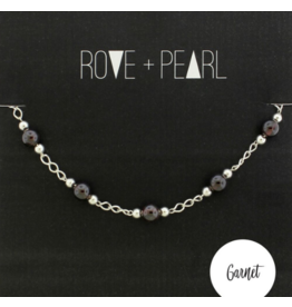 Color Theory - Genuine Garnet Bead and Silver Bracelet