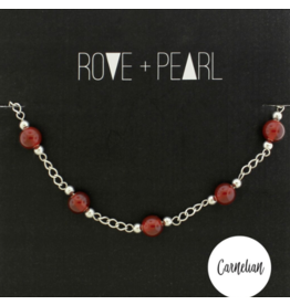 Color Theory - Genuine Carnelian Bead and Silver Bracelet