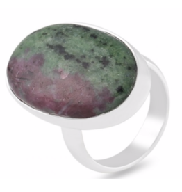 Ruby Zoisite Oval Ring - Adjustable