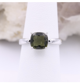 Adjustable Sterling Silver Square Moldavite Ring