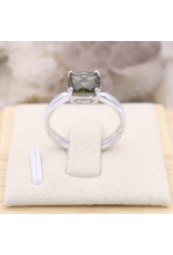 Adjustable Sterling Silver Square Moldavite Ring