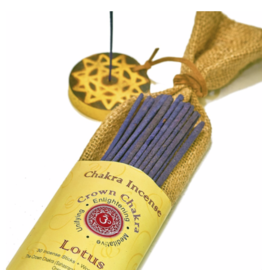Chakra - Lavender Scented Incense - 30 Hand-rolled Incense Sticks with Wooden Holder