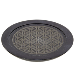 Black Soapstone Incense Holder - Flower of Life