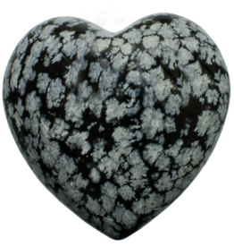 Snowflake Obsidian Puffy Heart