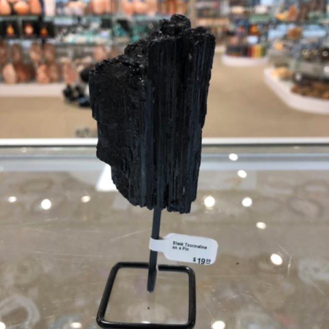 Black Tourmaline on a Mini Pin