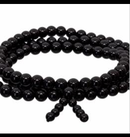 Bracelet -Gemstone Elastic Mala Prayer  - Black Onyx
