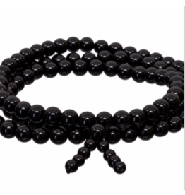 Gemstone Elastic Mala Prayer Bracelet - Black Onyx