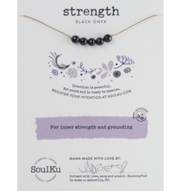 BLACK ONYX GEMSTONE INTENTION NECKLACE FOR INNER STRENGTH AND GROUNDING