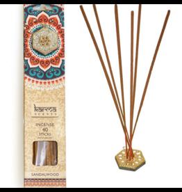 Karma Scents 40 Sticks with Jeweled Incense Holder Sandalwood
