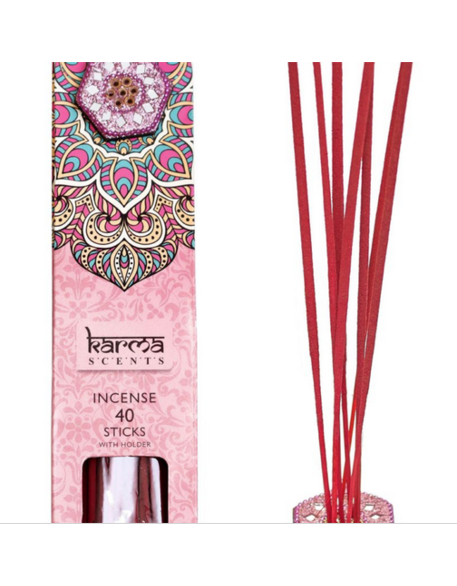 Karma Scents 40 Sticks with Jeweled Incense Holder Rose
